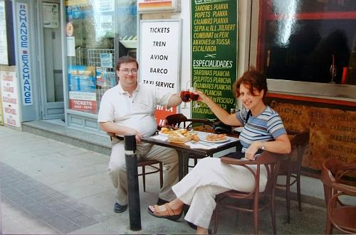 Az egyetlen közös képünk, rögtön az első spanyol napunkról, Tossa de Marból