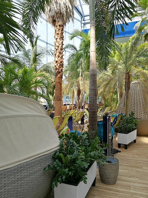 Rengeteg lehetőség van a privát tér megteremtésére, a sok vendég ellenére nincs tumultus, mindenki tud pihenni, akár egy-egy pálmafa árnyékában is.